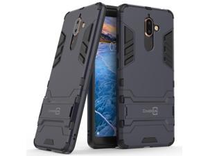 For Nokia 7 Plus Hard Case Navy / Black Kickstand Protective Slim Phone Cover