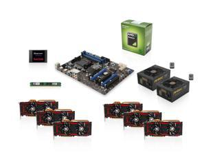 Mining Kit UAM-K140: AMD Sempron 145 Sargas 2.8GHz Single-Core, 970, 4GB DDR3 MEM, 32GB SSD, 6 X Radeon R9 280X 3GB VGA, ...