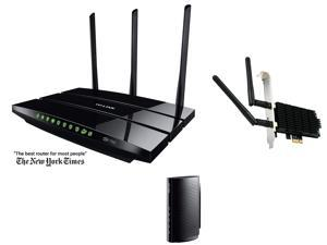 Networking Router Combo: TP-LINK Archer C7 Wireless AC1750 Dual Band Gigabit Router, TP-LINK Archer T6E AC1300 Wireless Dual ...