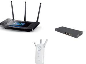 Networking Router Combo: TP-LINK Touch P5 Wireless AC1900 Touch Screen Gigabit Router, TP-LINK TL-SG1016 10/100/1000Mbps ...