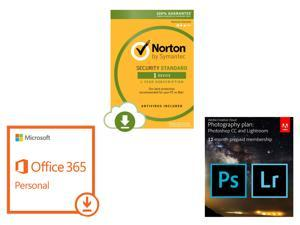 Adobe Photoshop CC + Lightroom, Microsoft Office 365 Personal, Norton Security Standard – ...