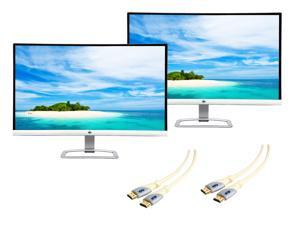 """Refurbished: Dual HP 27es 27"""" 7ms Widescreen LED IPS Monitor + Dual Monster HDMI Cable"""