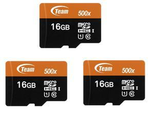 3 x Team 16GB microSDHC UHS-I/U1 Class 10 Memory Card with Adapter, Speed Up to 80MB/s