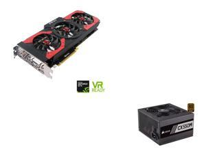 PNY GeForce GTX 1080 8GB Gaming OC Edition Video Card, CORSAIR CX-M series CX550M 550W 80 PLUS BRONZE Haswell Ready ATX12V ...