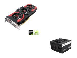 PNY GeForce GTX 1080 8GB Gaming OC Edition Video Card, Thermaltake Smart Series 600W SLI / CrossFire Ready Continuous Power ...