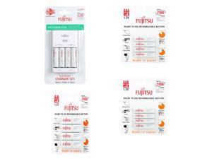 Fujitsu Ni-MH Battery Charger Kit with 4-Pack AA 2000mAh + 2000mAh 2100 Cycles + AAA 800mAh 2100 Cycles Rechargeable Batteries