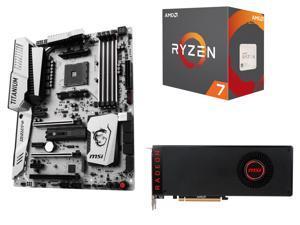 MSI Black Radeon RX Vega 64 8GB VGA PCI Express 3.0 CrossFireX Vieo Card + AMD RYZEN 7 8-Core Desktop Processor + MSI X370 ATX AMD Motherboard