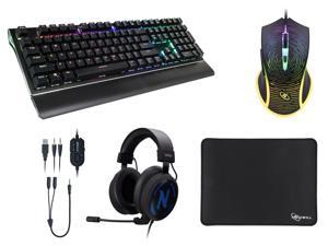 Rosewill NEON K85 RGB Mechanical Gaming Keyboard with Kailh Blue Switches, Rosewill 4000 dpi Rainbow Backlit Optical Wired Gaming Mouse, Rosewill NEBULA GX30 Gaming Headset with Microphone RGB Backlight, Rosewill Pro Gaming Mouse Pad