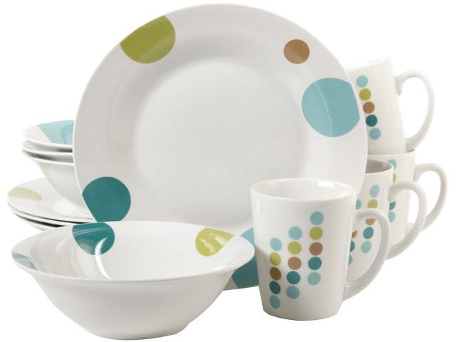 Gibson Home 91701.12 Retro Specks 12 Piece Dinnerware Set, White photo