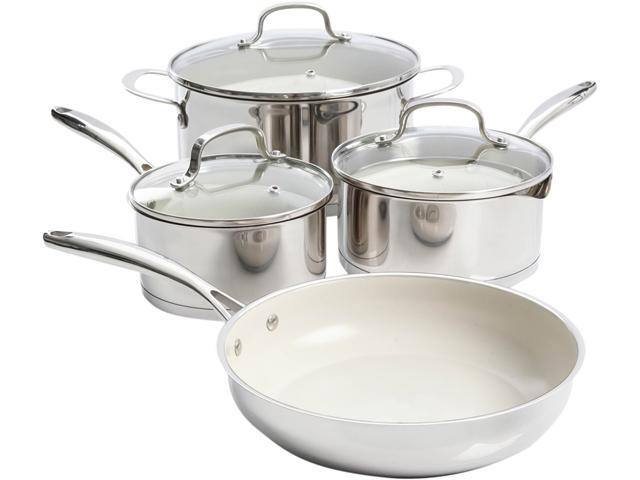 Gibson Cuisine 108181.07 Gleaming 7 Piece Cookware Set with Ceramic Nonstick Interior, Stainless Steel photo