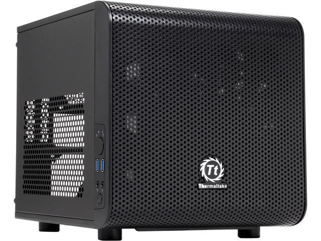Thermaltake Core V1 Extreme Mini ITX Cube Chassis___ Compatible with air and Liquid Cooling Builds (CA-1B8-00S1WN-00)
