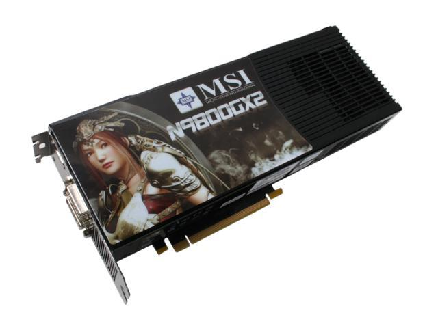 MSI GeForce 9800 GX2 DirectX 10 N9800GX2-M2D1G 1GB (512MB per GPU) 512-bit (256-bit per GPU) GDDR3 PCI Express 2.0 x16 HDCP Ready SLI Support Video Card