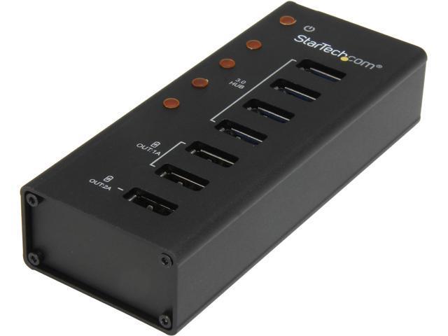StarTech ST4300U3C3 4 Port Powered USB 3.0 Hub with 3 Dedicated USB Charging Ports (2 x 1A & 1 x 2A) - Wall Mountable Metal Enclosure - Retail