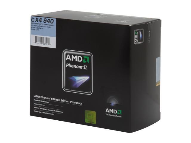 AMD Phenom II X4 940 Black Edition Deneb Quad-Core 3.0 GHz Socket AM2+ 125W HDZ940XCGIBOX ...