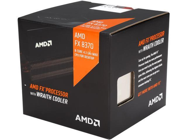 AMD FX-8370 with AMD Wraith cooler Vishera 8-Core 4.0 GHz (4.3 GHz Turbo) Socket AM3+ 125W FD8370FRHKHBX Desktop Processor