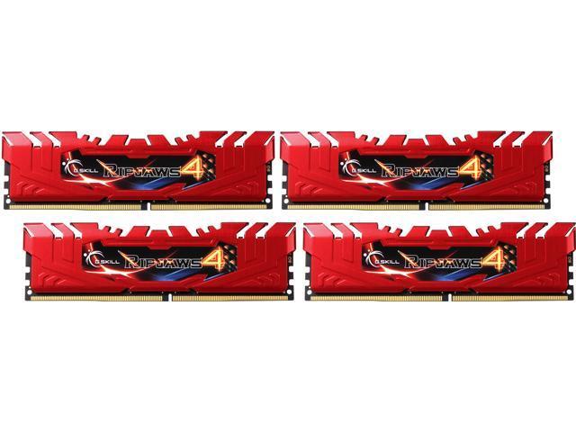 G.SKILL Ripjaws 4 Series 16GB (4 x 4GB) 288-Pin DDR4 SDRAM DDR4 2666 (PC4 21300) Desktop Memory Model F4-2666C15Q-16GRR