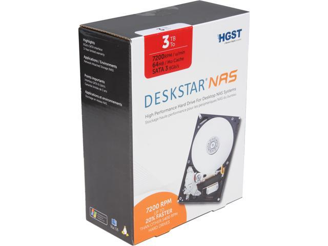 HGST Deskstar NAS H3IKNAS30003272SN (0S03660) 3TB 7200 RPM 64MB Cache SATA 6.0Gb/s 3.5
