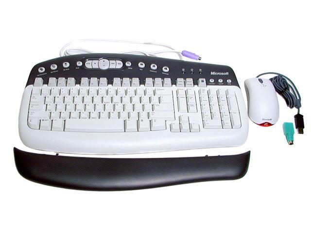Microsoft K96-00001 2-Tone PS/2 Wired Standard Keyboard Mouse Included - OEM