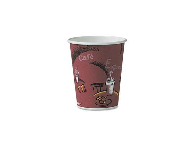SOLO Cup Company OF10BI-0041 Bistro Design Hot Drink Cups, Paper, 10 oz., Maroon, 300/Carton