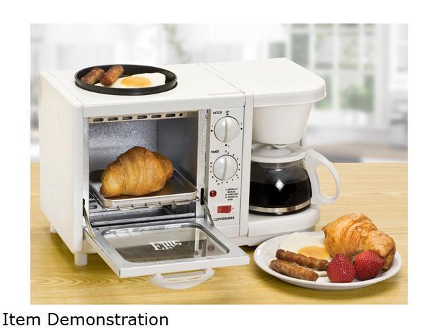 Elite Cuisine EBK-200 3 in 1 Breakfast Center - Coffee, Toaster Oven, Griddle, White photo