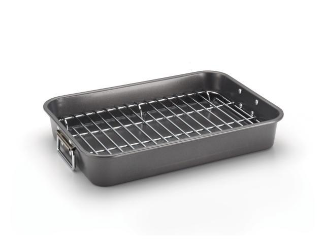 Farberware Nonstick Bakeware 57026 11-Inch x 15-Inch Roaster with Flat Rack, Gray photo