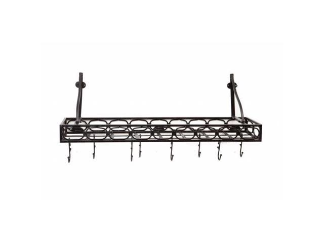 Old Dutch International 103MB Medium Gauge Wall-Mount Bookshelf Pot Rack with 8 Hooks, Matte Black photo