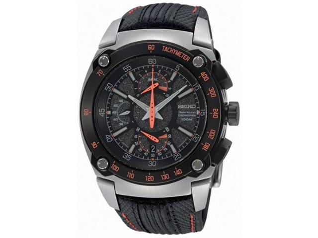 Seiko Sportura Dual Flyback Chronograph Leather Mens Watch SPC039P2
