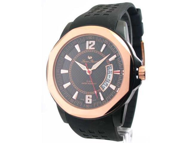 Mens Lucien Piccard Rubber Rose Gold Date Watch 28129RO