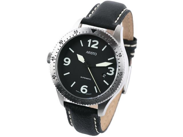Aristo 7H72 Black Dial Swiss Automatic Aviator Watch - Left Crown