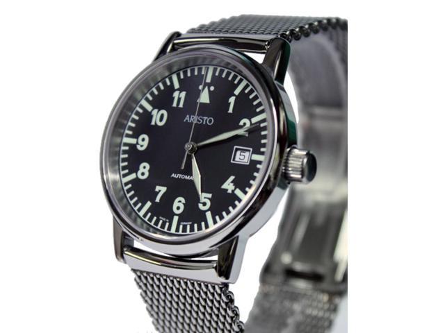 Aristo 4H11TU/4 Flight Watch with Mesh Bracelet and Sapphire Crystal