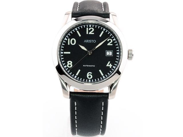 Aristo 4H230 Black Dial Swiss Automatic Cushion Case Watch