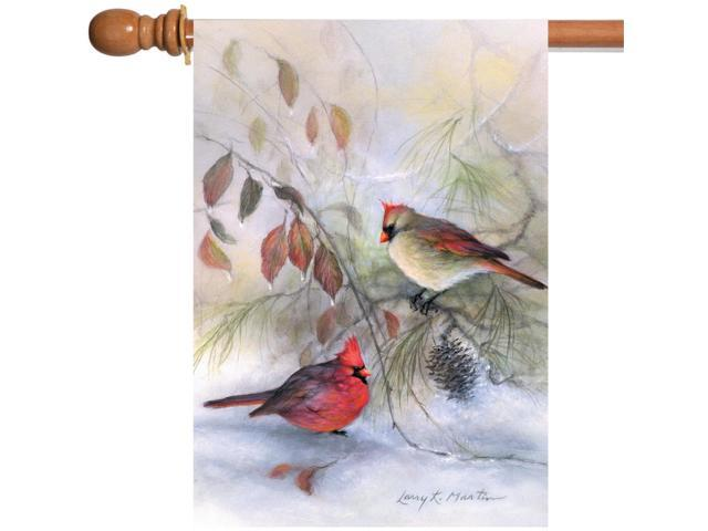 Toland Winter Rest Cardinals 28 x 40 Red Snow Bird Branch Leaf House Flag (017917208238 Home & Garden Decor Flags & Windsocks) photo