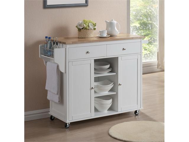 256 meryland white modern kitchen island cart