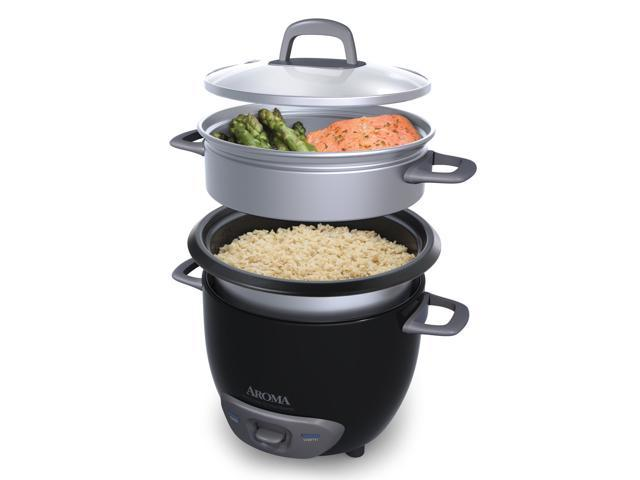 AROMA ARC-743-1NGB 3-Cup (Uncooked)/6-Cup (Cooked) Pot-Style Rice Cooker and Food Steamer, Black photo