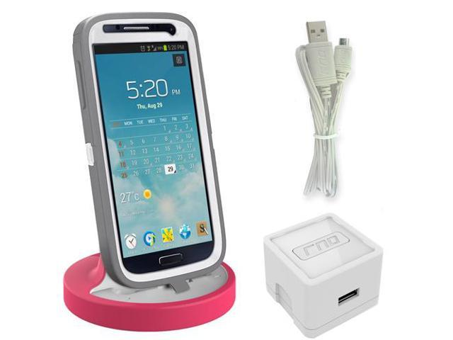 RND Dock for Samsung Galaxy S4  S4 Active  S6  S6 Edge  S6 Edge Plus  S7  S7 Edge with Dock mode cable and 2.1A Charger (compatible without or with most cases including rugged cases) (white/pink)