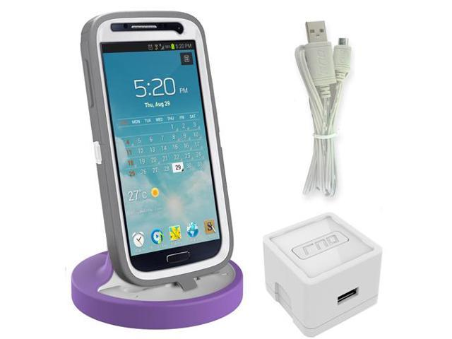 RND Dock for Samsung Galaxy S4  S4 Active  S6  S6 Edge  S6 Edge Plus  S7  S7 Edge with Dock mode cable and 2.1A Charger (compatible without or with most cases including rugged cases) (white/purple)