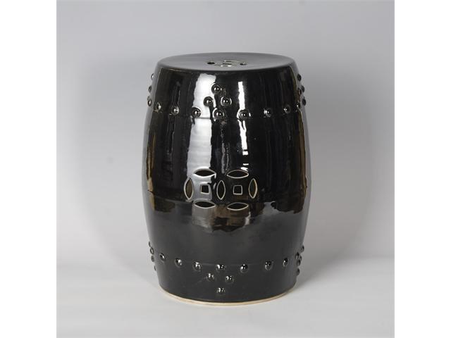 Black Ceramic Garden Stool