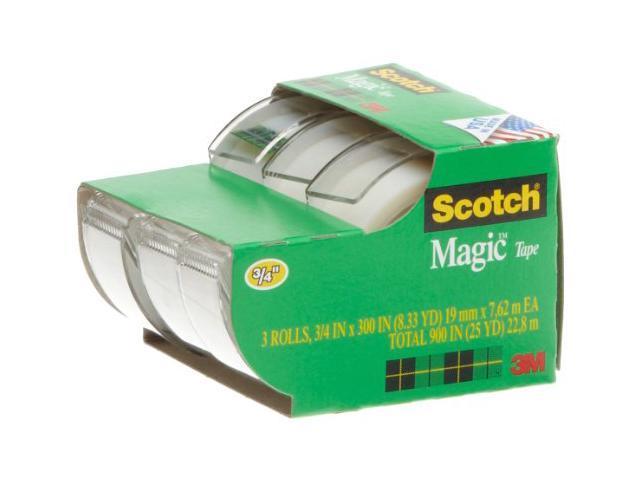 Scotch Magic Tape in Handheld Dispenser 3/4' x 300' 1' Core Clear 3/Pack 3105 photo