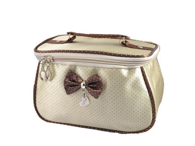 Global Bargains Lady Dots Pattern Bowknot Accent Rectangle Cosmetic Makeup Bag Purse Beige (Luggage & Bags) photo