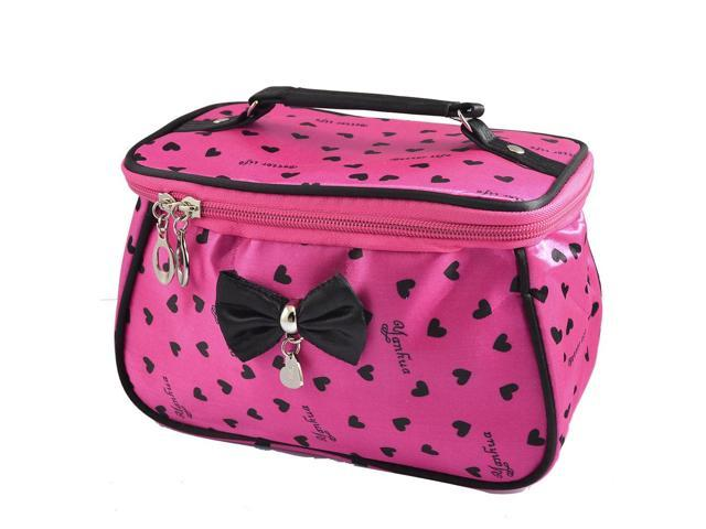 Global BargainsLady Heart Print Zip up Design Fuchsia Makeup Bag Purse w Mirror (603937416670 Luggage & Bags) photo