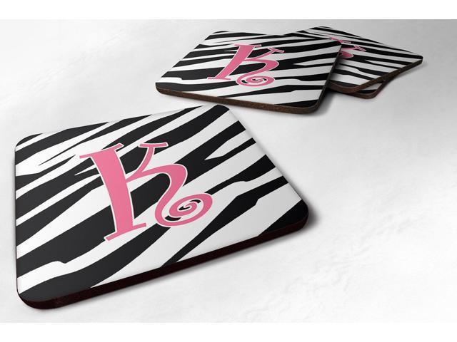 Set of 4 Monogram - Zebra Stripe and Pink Foam Coasters Initial Letter K photo