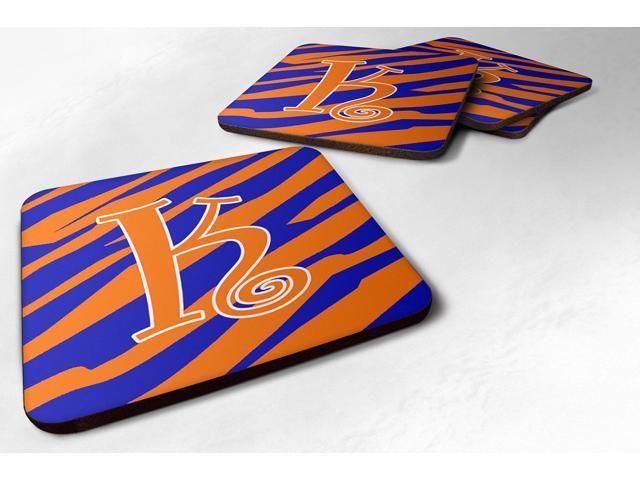 Set of 4 Monogram - Tiger Stripe Blue and Orange Foam Coasters Initial Letter K photo