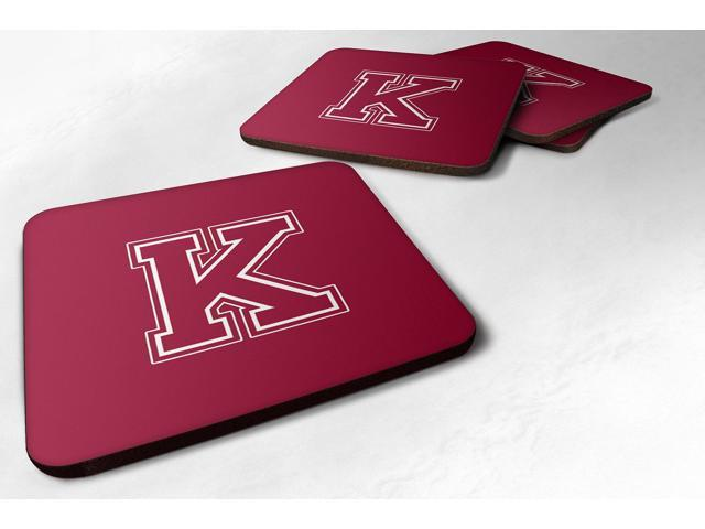 Set of 4 Monogram - Maroon and White Foam Coasters Initial Letter K photo