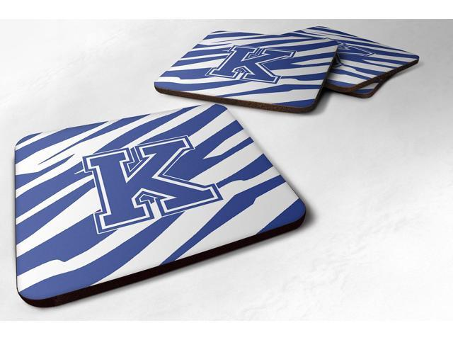 Set of 4 Monogram - Tiger Stripe Blue and White Foam Coasters Initial Letter K photo