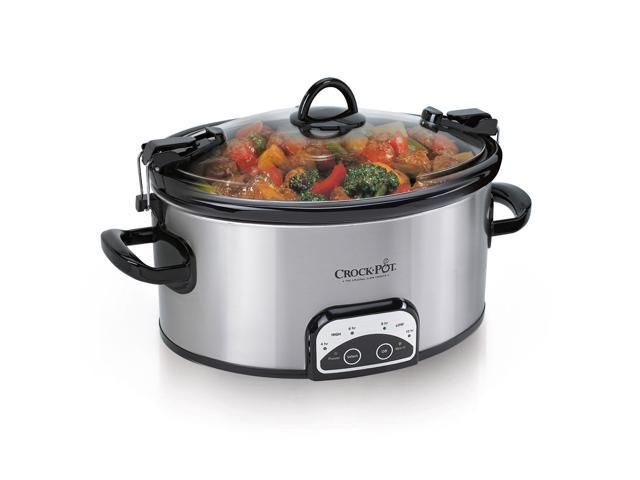 Crock-Pot 6-Quart Programmable Cook & Carry Oval Slow Cooker, Stainless Steel photo
