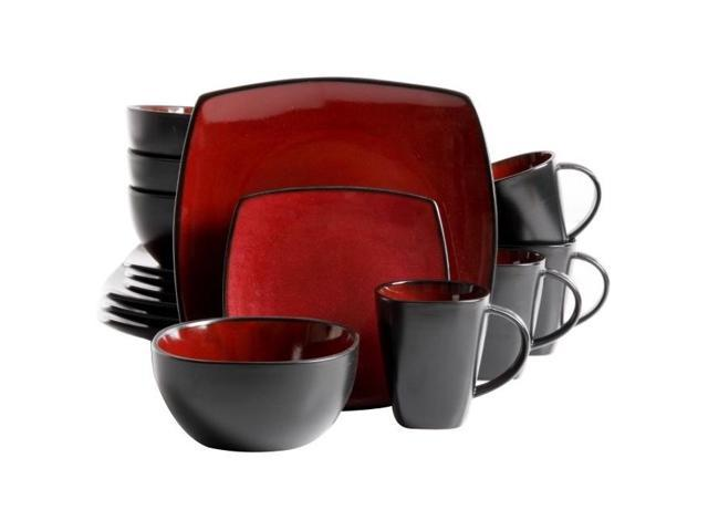 Gibson 68182.16 16-Piece Red Square Dinnerware Set Soho Lounge Series photo