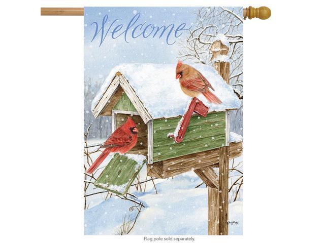 Cardinal Mailbox Winter House Flag Welcome Birds 28' x 40' Briarwood Lane (Home & Garden Decor Flags & Windsocks) photo