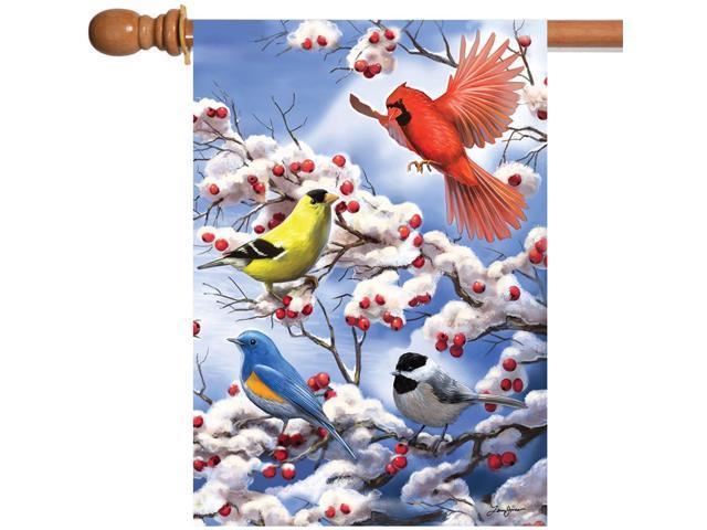 Toland Finch and Cardinal 28 x 40 Winter Snow Bird Tree Berries House Flag (696552371707 Home & Garden Decor Flags & Windsocks) photo