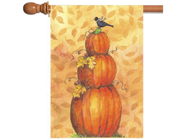 Toland Pumpkin Tower 28 x 40 Fall Autumn Gourd Black Bird House Flag (696552370816 Home & Garden Decor Flags & Windsocks) photo
