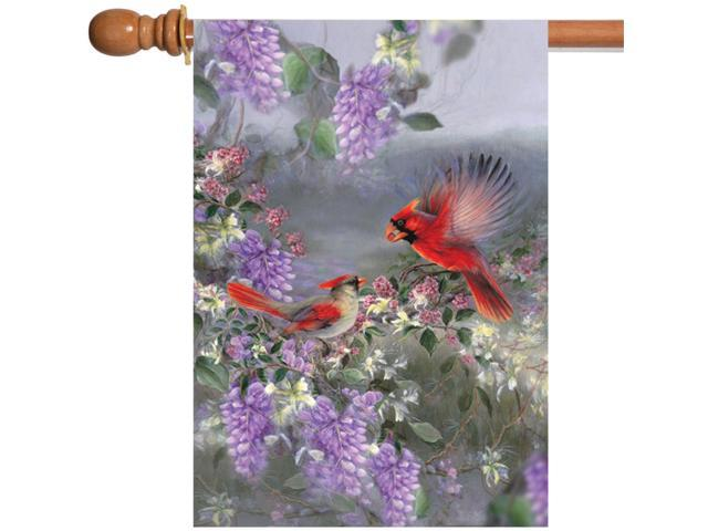 Toland Two Cardinals 28 x 40 Colorful Purple Flower Red Bird House Flag (Home & Garden Decor Flags & Windsocks) photo